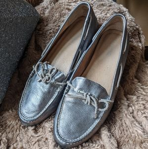 SPERRY Leather Silver Metallic Slip on Loafer Flat
